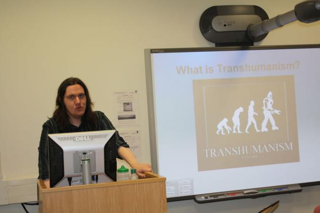 Michael delivers his talk on Transhumanism.