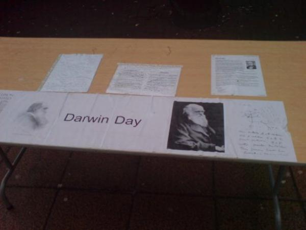 Darwin Day stall.